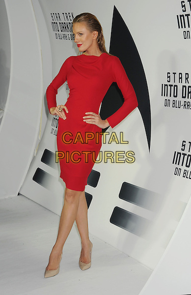 Bar Paly<br /> &quot;Star Trek Into Darkness&quot; DVD/Blu-Ray Release held at the California Science Center, Los Angeles, California, USA.<br /> September 10th, 2013<br /> full length dress hands on hips red hair slicked back beige shoes<br /> CAP/ROT/TM<br /> &copy;Tony Michaels/Roth Stock/Capital Pictures