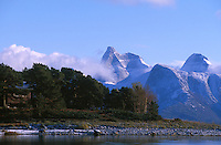 Snow cover on Stettind, Norwegian National mountain in Tysfjord, Nordland, Norway