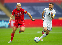 18th July 2020; Liberty Stadium, Swansea, Glamorgan, Wales; English Football League Championship, Swansea City versus Bristol City; Andreas Weimann of Bristol City goes past Matt Grimes of Swansea City