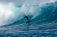 Namotu Island Resort, Nadi, Fiji (Saturday, May 26th 2018): Ben Wilson (AUS) Kite surfing Cloudbreak. The swell was in the 8'-10' range and growing this morning. All the spots around the island were big and messy. Wilkes had sets in the 12' range and Cloudbreak was pushing 15' plus. The wind was strong from the South  and increased in strength through the day. <br /> Cloudbreak was messy in the afternoon with the strong winds and the incoming tide. Restaurants was clean in the 3' range but the line up was packed. <br /> Photo: joliphotos.com