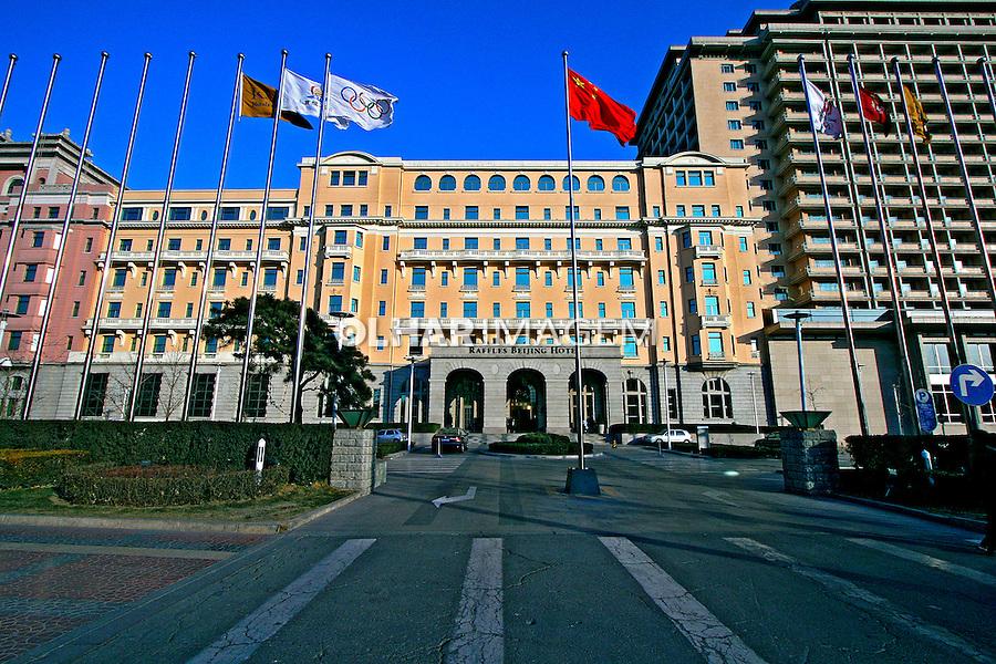 Prédio de hotel na cidade de Pequim. China. 2007. Foto de Flávio Bacellar.