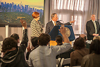 New York Mayor Michael Bloomberg with City Council Speaker Christine Quinn at the groundbreaking ceremony for the long anticipated and controversial Hudson Yards project on the West Side of Manhattan in New York on Tuesday, December 4, 2012. The Hudson Yards, built over the LIRR yards, represents the largest real estate development in New York since Rockefeller Center. When finished the 26 acre site will have over 13 million square feet of commercial, residential and retail space. (© Richard B. Levine)