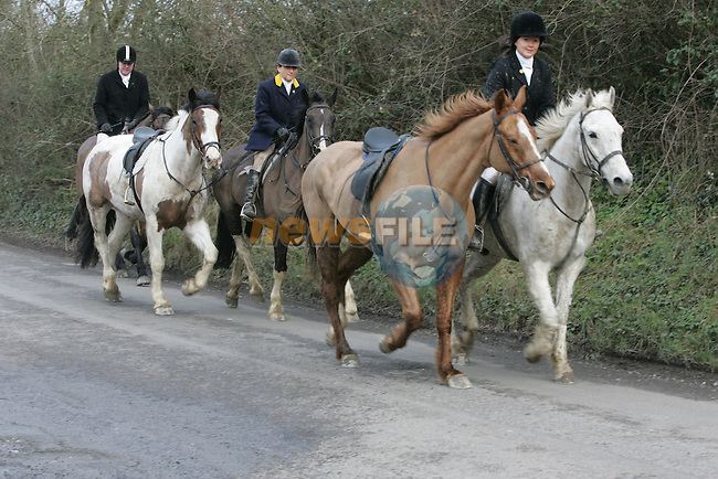 Contrary to yesterdays reports that all their hunts were cancelled, the Meath Hunt took place in Killmessan, Co.Meath today....Co.Meath...Photo NEWSFILE/Fran Caffrey.(Photo credit should read Fran Caffrey/NEWSFILE)....This Picture has been sent you under the condtions enclosed by:.Newsfile Ltd..The Studio,.Millmount Abbey,.Drogheda,.Co Meath..Ireland..Tel: +353(0)41-9871240.Fax: +353(0)41-9871260.GSM: +353(0)86-2500958.email: pictures@newsfile.ie.www.newsfile.ie.FTP: 193.120.102.198..
