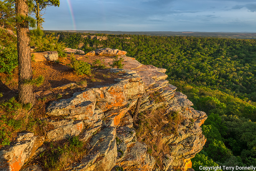 Petit Jean State Park, Arkansas:<br /> Rainbow above Cedar Creek and the forested Arkansas River valley