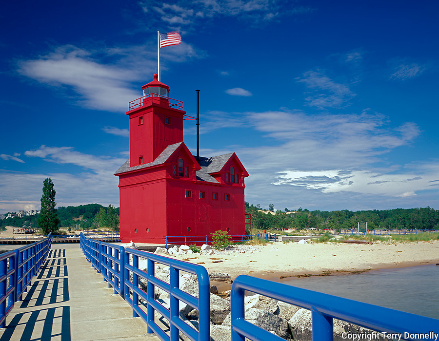 Allegan County, MI        &copy; Terry Donnelly  /<br /> Holland Harbor lighthouse on channel between Lake Michigan and Lake Macatawa