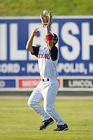 Right fielder Matt Inouye (20) of the Kannapolis Intimidators catches a fly ball at Fieldcrest Cannon Stadium in Kannapolis, NC, Sunday May 25, 2008.