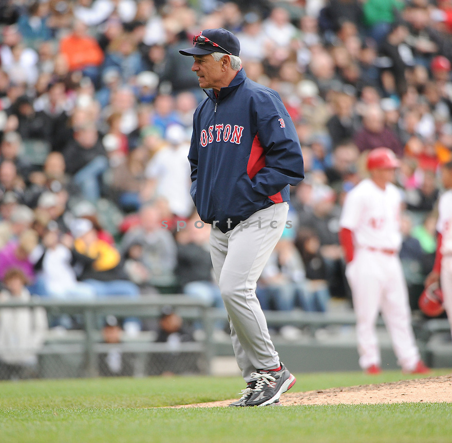 BOBBY VALENTINE, of the Boston Red Sox, in action during the Red Sox game against the Chicago White Sox on April 29, 2012, at US Cellular Field in Chicago, IL. The White Sox beat the Red Sox 4-1.