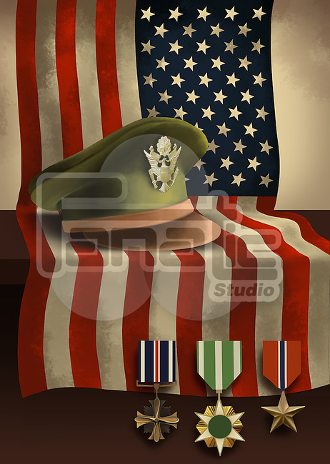 Illustrative image of American flag with medals and military cap representing patriotism