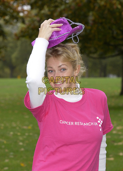 "TERRI DWYER.starting  Cancer Research UK's ""Stride for Life"" a 10 km sponsored walk during Breast Cancer Awareness Month..Hyde Park, London. Sunday 22 October 2004..Ref: PL.half length, purple cowboy hat, pink t shirt, t-shirt.www.capitalpictures.com.sales@capitalpictures.com.©Capital Pictures"