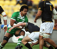 Manawatu's Lisiate Fa'aoso runs into Scott Fuglistaller. Air NZ Cup - Wellington Lions v Manawatu Turbos at Westpac Stadium, Wellington, New Zealand. Saturday 3 October 2009. Photo: Dave Lintott / lintottphoto.co.nz