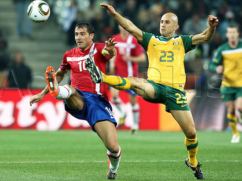 23 06 2010  FIFA World Cup, Group D, Australia v Serbia, Nelspruit Saush Africa, June 23rd 2010. Dejan Stankovic Srb and Marco Bresciano aus