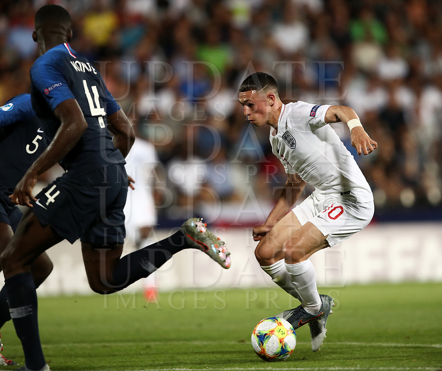 Football: Uefa under 21 Championship 2019, England - France, Dino Manuzzi stadium Cesena Italy on June18, 2019.<br /> England's Phil Foden is going to score during the Uefa under 21 Championship 2019 football match between England and France at Dino Manuzzi stadium in Cesena, Italy on June18, 2019.<br /> UPDATE IMAGES PRESS/Isabella Bonotto