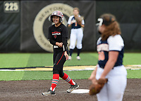 NWA Democrat-Gazette/CHARLIE KAIJO Northside High School Shanoe Teague (11) cheers during the 6A State Softball Tournament, Thursday, May 9, 2019 at Tiger Athletic Complex at Bentonville High School in Bentonville. Rogers Heritage High School lost to Northside High School 8-6