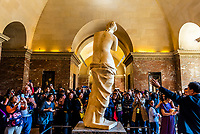 Statue of Venus de Milo (Aphrodite), Greek and Roman antiquities, Louvre Museum, Paris, France.