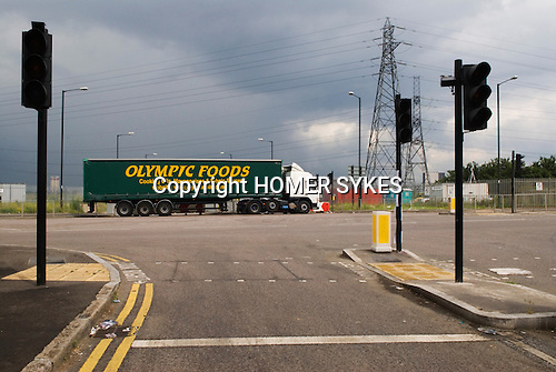 East London Lea Valley  site of the 2012 Olympic Games village and arena,   Stratford, England 2007. Waterden Road London E15. Olympic Foods lorry.