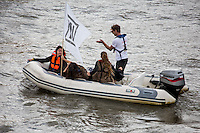 "The guy is a bit confused (t-shirt ""leave"" and boat ""In"")...<br />