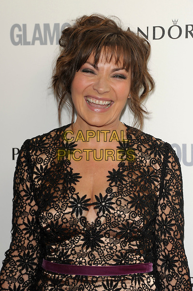Lorraine Kelly .Glamour Women Of The Year Awards held at Berkeley Square Gardens, London, England..June 7th 2011..inside arrivals half  length black sheer see thru through crochet lace dress long sleeve smiling purple velvet waistband cut out cleavage .CAP/PL.©Phil Loftus/Capital Pictures.