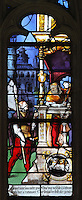 Section from the Scenes of the Life and Martyrdom of Saints Crispin and Crispinian stained glass window, possibly depicting a guard with a spear talking to the governor, attributed to Nicolas le Prince, donated in 1530 by the cobblers guild in Gisors, in the Collegiate Church of Saint-Gervais-Saint-Protais, built 12th to 16th centuries in Gothic and Renaissance styles, in Gisors, Eure, Haute-Normandie, France. The church was consecrated in 1119 by Calixtus II but the nave was rebuilt from 1160 after a fire. The church was listed as a historic monument in 1840. Picture by Manuel Cohen