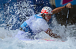 LONDON, ENGLAND - JULY 29:  Ander Elosegi of Spain competes in the Men's Kayak Slalom Prelims during Day 3 of the London 2012 Olympic Games on July 29, 2012 at the Lee Valley White Water Center Center in Hertfordshire, England. (Photo by Donald Miralle)