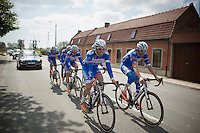Jempy Drucker (LUX/Wanty-GroupeGobert) &amp; Frederik Veuchelen (BEL/Wanty-GroupeGobert) up front<br /> <br /> 2014 Paris - Roubaix reconnaissance