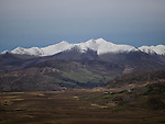 Snow covered Carraun toohill in County Kerry Ireland as viewed from the South.<br /> Photo Don MacMonagle