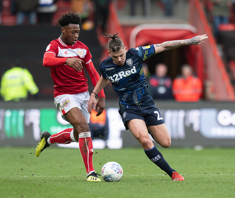 Leeds United's Kalvin Phillips (right) under pressure from Bristol City's Antoine Semenyo (left) <br /> <br /> Photographer David Horton/CameraSport<br /> <br /> The EFL Sky Bet Championship - Bristol City v Leeds United - Saturday 9th March 2019 - Ashton Gate Stadium - Bristol<br /> <br /> World Copyright © 2019 CameraSport. All rights reserved. 43 Linden Ave. Countesthorpe. Leicester. England. LE8 5PG - Tel: +44 (0) 116 277 4147 - admin@camerasport.com - www.camerasport.com