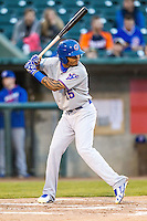South Bend Cubs outfielder Eddy Martinez (15) at bat against the Lansing Lugnuts on May 12, 2016 at Cooley Law School Stadium in Lansing, Michigan. Lansing defeated South Bend 5-0. (Andrew Woolley/Four Seam Images)