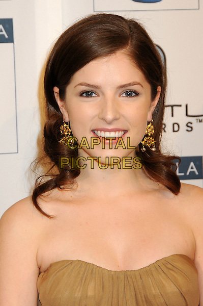 ANNA KENDRICK.Attending the 16th Annual BAFTA LA Awards Season Tea Party held at the Beverly Hills Hotel, Beverly Hills, California, USA, 16th January 2010..arrivals portrait headshot strapless gold earrings beige .CAP/ADM/BP.©Byron Purvis/Admedia/Capital Pictures