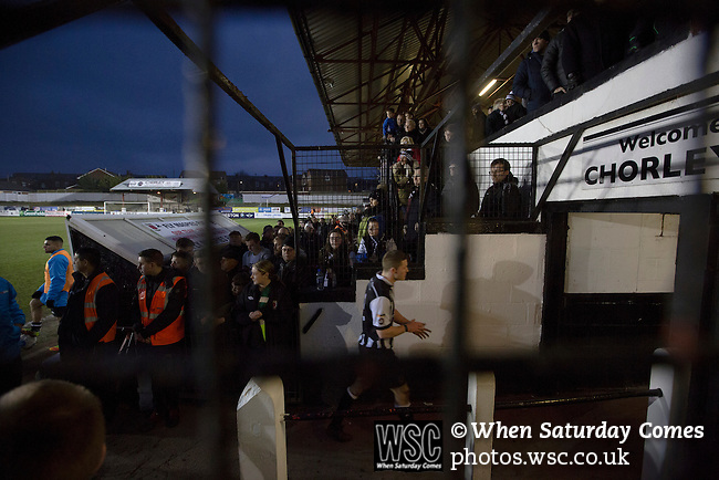 Chorley 2 Altrincham 0, 21/01/2017. Victory Park, National League North. Home supporters applauding their players off the pitch at Victory Park, after Chorley played Altrincham (in yellow) in a Vanarama National League North fixture. Chorley were founded in 1883 and moved into their present ground in 1920. The match was won by the home team by 2-0, watched by an above-average attendance of 1127. Photo by Colin McPherson.