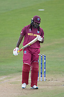 Chris Gayle (West Indies) looks at the toe end of his bat after he holes out during West Indies vs New Zealand, ICC World Cup Warm-Up Match Cricket at the Bristol County Ground on 28th May 2019