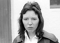 Ruby Mercer, fiancee, Freddie Weatherall, 22 years, from Belfast, N Ireland, banned from entry to Britain because of alleged links to the para-military UDA, Ulster Defence Association. He was detained on his arrival in Liverpool with Ruby. 9th July 1975. 197507090539RM<br />