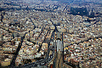Aerial view of city centre of Valencia, Spain Estació del Nord railway station area