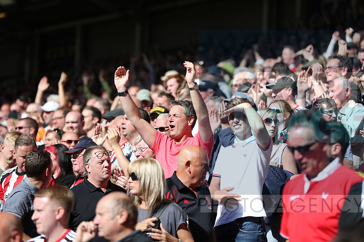 Sheffield United fans during the English championship league match at Bramall Lane Stadium, Sheffield. Picture date 5th August 2017. Picture credit should read: Jamie Tyerman/Sportimage