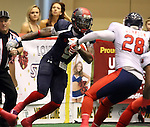 SIOUX FALLS, SD - MAY 16:  James Terry #9 from the Sioux Falls Storm looks to get past Jory Johnson #28 form the Bemidji Axemen in the first half of their game Saturday night at the Sioux Falls Arena. (Photo by Dave Eggen/Inertia)
