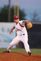 Jake McCasland #40 of the Salem-Keizer Volcanoes pitches against the Spokane Indians at Volcanoes Stadium on July 26, 2014 in Keizer, Oregon. Spokane defeated Salem Keizer, 4-1. (Larry Goren/Four Seam Images)
