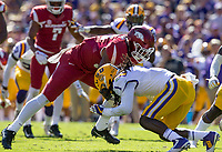 NWA Democrat-Gazette/BEN GOFF @NWABENGOFF<br /> Donte Jackson, LSU nickel back, stops David Williams, Arkansas running back, in the second quarter Saturday, Nov. 11, 2017 at Tiger Stadium in Baton Rouge, La.
