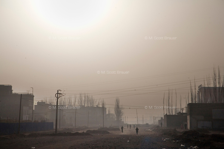 New construction encroaches on the Old City section of Kashgar, Xinjiang, China.