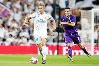 Real Madrid's Marcos Llorente (l) and ACF Fiorentina's Giovanni Simeone during Santiago Bernabeu Trophy. August 23,2017. (ALTERPHOTOS/Acero) /NortePhoto.com