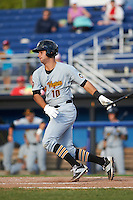 West Virginia Black Bears catcher Chris Harvey (10) at bat during a game against the Batavia Muckdogs on August 21, 2016 at Dwyer Stadium in Batavia, New York.  West Virginia defeated Batavia 6-5.  (Mike Janes/Four Seam Images)
