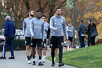 TUKWILA, WA - NOVEMBER 08: Kelvin Leerdam #18 and Justin Dhillon #99 of the Seattle Sounders FC lead teammates as they walk to training at Starfire Sports Complex on November 08, 2019 in Tukwila, Washington.