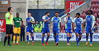 Wigan Athletic celebrate after going 2-0 ahead<br /> <br /> Photographer David Shipman/CameraSport<br /> <br /> The EFL Sky Bet Championship - Wigan Athletic v Preston North End - Monday 22nd April 2019 - DW Stadium - Wigan<br /> <br /> World Copyright © 2019 CameraSport. All rights reserved. 43 Linden Ave. Countesthorpe. Leicester. England. LE8 5PG - Tel: +44 (0) 116 277 4147 - admin@camerasport.com - www.camerasport.com