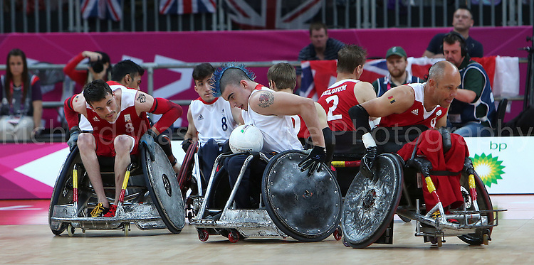 Paralympics London 2012 - ParalympicsGB - Wheelchair Rugby held at the Basketball Arena  8th September 2012..David Anthony in action during the match Great Britain vs Belgium Mixed - 5/8 Classification 1 at the Paralympic Games in London. Photo: Richard Washbrooke/ParalympicsGB)
