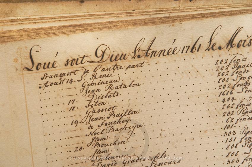 Old order book. Chateau Kirwan, Margaux, Medoc, Bordeaux, France