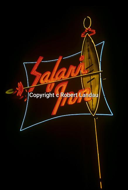 Safari Neon sign on motel in Burbank, CA