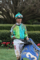 HOT SPRINGS, AR - FEBRUARY 19: Jockey Corey Lanerie aboard after winning the Razorback Handicap at Oaklawn Park on February 19, 2018 in Hot Springs, Arkansas. (Photo by Justin Manning/Eclipse Sportswire/Getty Images)