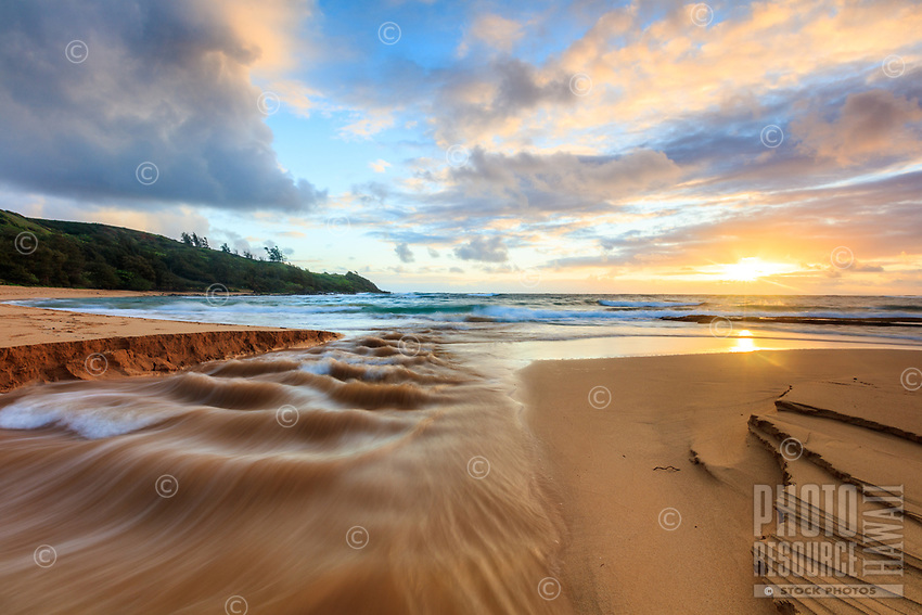 Sunrise over Moloa'a Stream and Moloa'a Bay, Kaua'i.