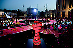 The Trofeo Senza Fine on stage at the Team Presentation before the 101st edition of the Giro d'Italia 2018. Jerusalem, Israel. 3rd May 2018.<br /> Picture: LaPresse/Marco Alpozzi | Cyclefile<br /> <br /> <br /> All photos usage must carry mandatory copyright credit (&copy; Cyclefile | LaPresse/Marco Alpozzi)