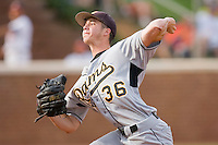 Relief pitcher Brennan Huelse #36 of the VCU Rams in action against the Virginia Cavaliers at the Charlottesville Regional of the 2010 College World Series at Davenport Field on June 4, 2010, in Charlottesville, Virginia.  The Cavaliers defeated the Rams 14-5.  Photo by Brian Westerholt / Four Seam Images