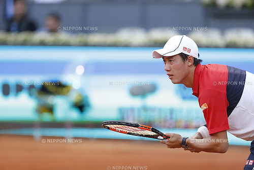 Kei Nishikori (JPN), MAY 7, 2015 - Tennis : Kei Nishikori of Japan during singls 3rd round match against Roberto Bautista Agut of Spain on the ATP World Tour Masters 1000 Mutua Madrid Open tennis tournament at the Caja Magica in Madrid, Spain, May 7, 2015. (Photo by Mutsu Kawamori/AFLO) [3604]