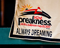 BALTIMORE, MD - MAY 17:  Always Dreaming's saddle cloth sits waiting to be washed after the Kentucky Derby winner exercised in preparation for the Preakness Stakes this Saturday at Pimlico Race Course on May 17, 2017 in Baltimore, Maryland.(Photo by Scott Serio/Eclipse Sportswire/Getty Images)
